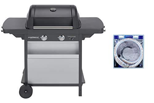 Campingaz Barbecue à Gaz Class 2 LX Vario, 2 Brûleurs, Puissance 7.5kW, Grille et Plancha en Acier Double Emaillage, 2 Tablettes Latérales + Campingaz Tuyau Souple à Visser de 1.25m pour Barbecue à Gaz