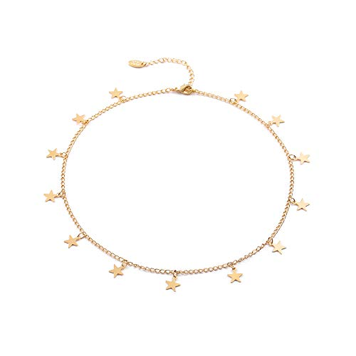 Fremttly Star Choker Necklaces Handmade Simple 14K Gold Plated/Silver Plated Delicate Dainty Star and Bead Chain Chokers Necklaces Thin Heart Pendant Necklaces Gift for Mother's Day for Women-C-Star