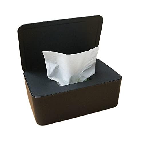 oein Scatole di Tessuto Tavolo da tovagliolo Rettangolare Distributore di deposito del Tessuto per Il Bagno Cucina da Bagno Scatole per Tessuti bagnati con Coperchio(Nero)