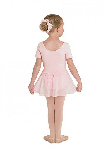 Ballettanzug aus Baumwolle, ROSA, Kurzarm, mit langem Voile-Röckchen Gr.4-6