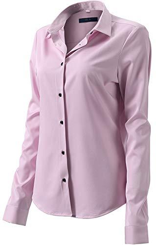 Damen Bluse aus Bambusfaser Elastisch Slim Fit Hemd für Freizeit Business Figurbetonte Hemdbluse Langarm Elegant Shirt Bügelfrei Rosa 38/12