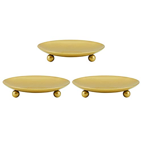 PandaHall Set of 3 Gold Plate Candle Holder, Decorative Iron Pillar Candle Plate Pedestal Candle Stand for LED & Wax Candle Weddings Candle Gardens Spa and Aromatherapy Incense Cones
