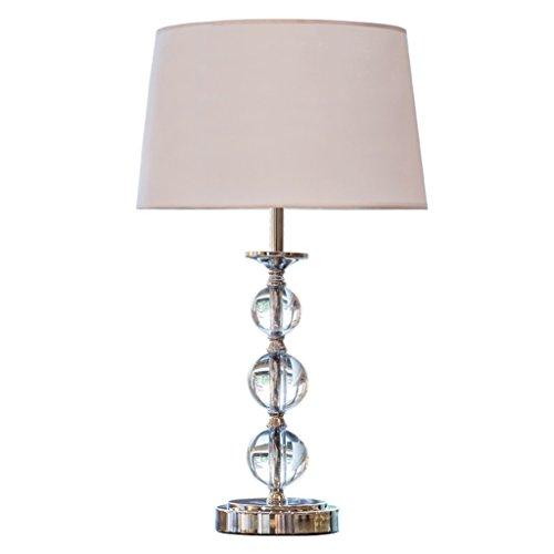 Lampe de table design moderne boule de cristal avec base en métal et abat-jour en tissu blanc pour l'éclairage de la chambre salon