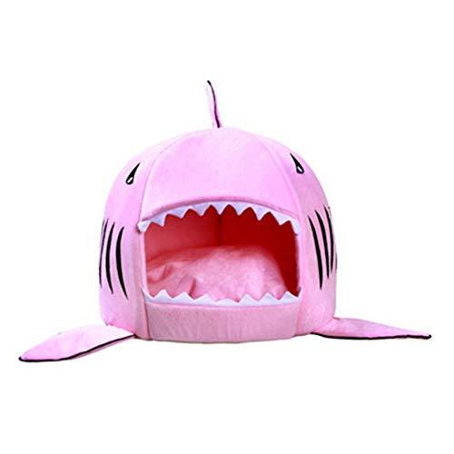 uoLingYan 1 cama de tiburón para perro, gato, cama para mascotas, sofá cama, cama pequeña y mediana para mascotas y gatito, alfombra lavable, color rosa, 42 x 42 x 42 cm