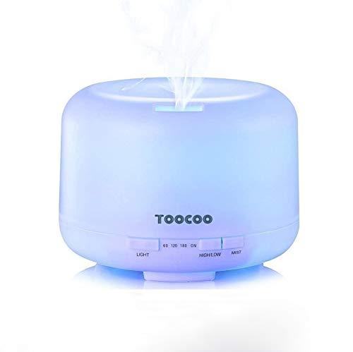 Humidificador Ultrasónico 500ml Aromaterapia Difusor de Aceites Esenciales Difusor de Aroma 4 Modos de Funcionamiento Luz LED de 7 Colores Mejorar Aire en Invierno y Ambiente en Casa Para Yoga