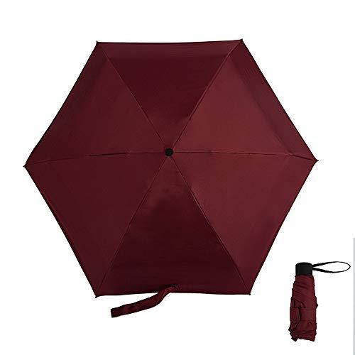 Neue 50 Falten Taschenschirm Tasche Schwarz Kunststoff Sonnenschirm Tragbare Schatten Sonnenschirm Weinrot 48,5X6 Karat