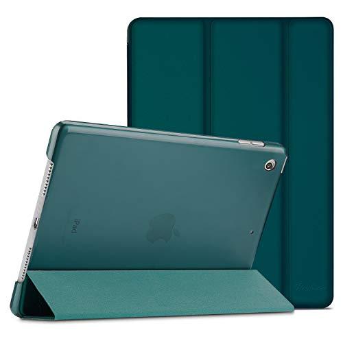 ProCase Hülle für iPad 10.2 Zoll 2019 7th Generation(A2197/A2198/A2200) Dreifach Falt Klapp Schutzhülle Case, Ultra Dünn Leicht Ständer Schale Smart Cover mit Translucent Frosted Rückhülle –Emerald