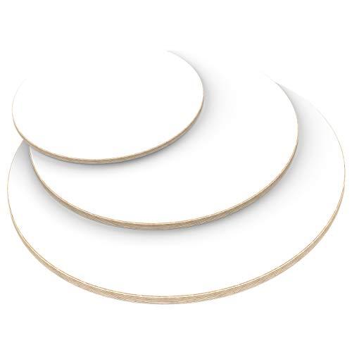 AUPROTEC Tischplatte 18mm rund Ø 600 mm weiß Multiplexplatte melaminbeschichtet von 20cm-148cm auswählbar runde Sperrholz-Platten Birke Massiv Multiplex Holz Industriequalität