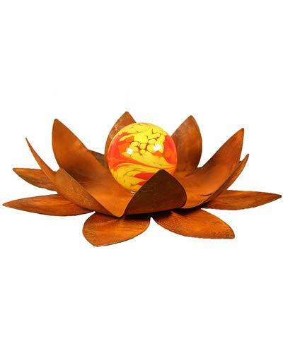 Bornhöft Gartendeko Blüte Lotus, Naturrost mit Glaskugel Dekoblume Metallblüte Windlicht Edelrost rostige Gartendekoration (40cm)