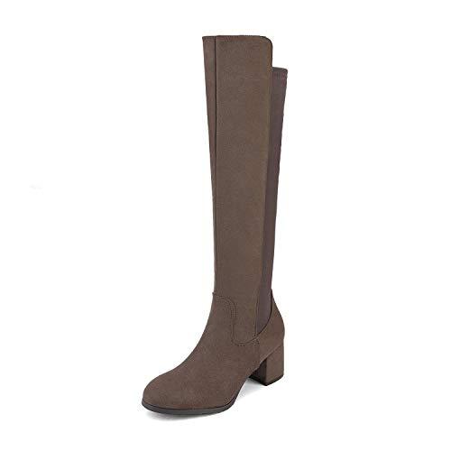 DREAM PAIRS Women's Khaki Knee High Stretchy Fashion Boots Size 7.5 M US Jennifer-3