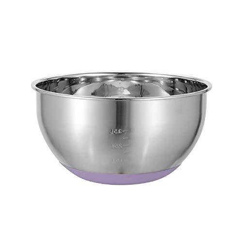 Large Mixing Bowl Stainless Steel Mixing Bowl with Nonslip Silicone Base Metal Mixing Bowl Baking Bowl Kitchen Cooking Preparing Bowl, 28cm