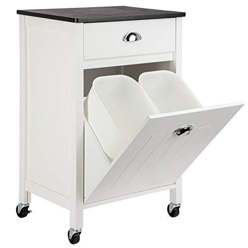 ONVAYA® Küchenwagen mit Mülleimer | Küchenrollwagen aus Holz | Beistellwagen für die Küche | Nischenwagen auf Rollen | mit Schublade & Mülltrennsystem | Weiß