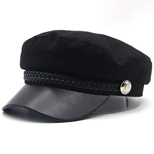 AROVON Winter warme baskenmütze Cap Hut für Frauen Baumwolle geschwungene hüte mit Leder Visier caps männer Mode Navy Hut