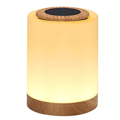 Luce notturna con altoparlante Bluetooth, Lampada da comodino con sensore Smart Touch, (Luce bianca calda a 3 livelli regolabile e RGB a sei colori, supporta Micro SD)