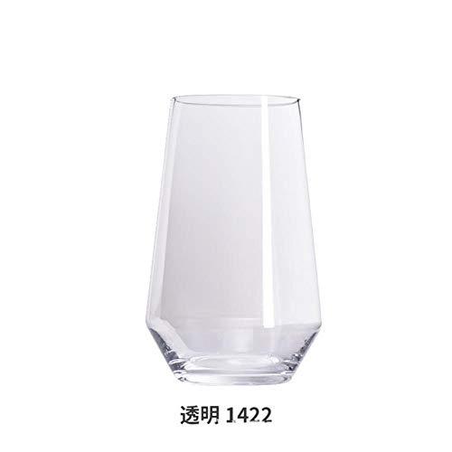 VHJ - Jarrón de cristal transparente de color bambú con lirio de flores para decoración del hogar