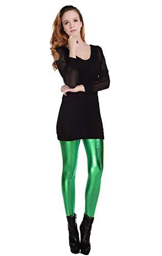Furein Leggins para Mujer Elásticos Cómodos Acabado Colores Brillantes Metalizados Imitación Cuero con Cintura Elástica (Verde, XXL/XXXL)
