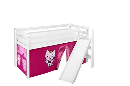 Lilokids Spielbett JELLE Angel Cat Sugar - Hochbett weiß - mit schräger Rutsche und Vorhang