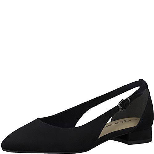 Tamaris Damen Ballerinas 22112-24, Frauen Sling-Ballerinas, weibliche Lady Ladies feminin elegant Women's,Black Suede,41 EU / 7.5 UK