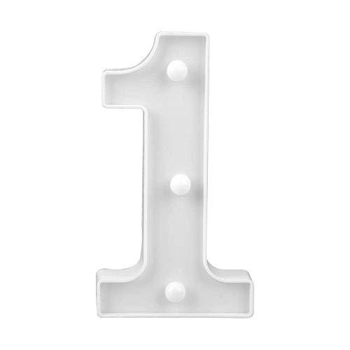 Vetrineinrete® Numero luminoso bianco a LED decoro per eventi feste luce calda 3000k 16x3cm alimentato da 2 batterie AAA (non icluse) (1) D20