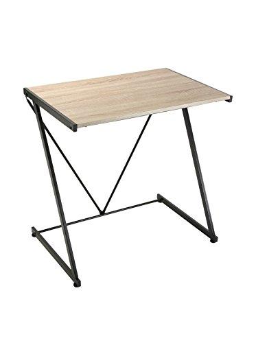 Versa Ulrika Mesa Escritorio para el Ordenador, Mesa para la Habitación o Estudio, Medidas (Al x L x An) 76 x 51 x 76 cm, Madera y Metal, Color Marrón