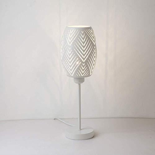Lámpara de mesa LED Nordic Bedside de metal, pantalla hueca, lámpara de escritorio, luz para decoración, color blanco
