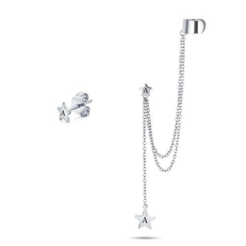 Personalizado USA estrella patriótica celestial doble cadena oreja lóbulo earringe clip en hélice lineal cadena larga banda de cadena larga envuelto oído puño pendientes set .925 plata esterlina