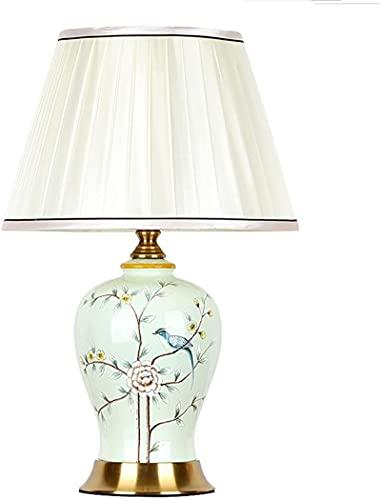 Lámpara de mesa de cerámica de la cama Lámpara de la ropa de noche del dormitorio retro clásico con la tela blanca Lámparas de escritorio de la sombrilla para la sala de estar Escritorio de oficina
