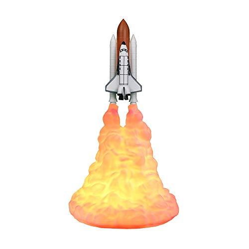 DEBEME Lámpara de Cohete de Impresión 3D Lámpara de Transbordador Espacial Recargable Decoración de Habitación de Luz Nocturna para Amantes de Cohetes (L)