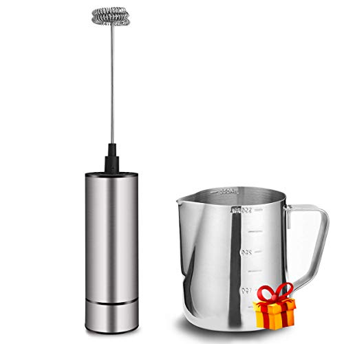 Milk Frother Handheld Battery Operated, Coffee Frother for Milk Foaming, Latte/Cappuccino Frother Mini Frappe Mixer for Drink, Hot Chocolate, Stainless Steel Silver