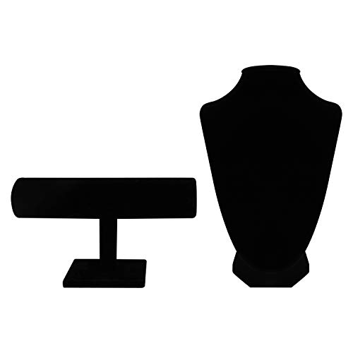 BELLE VOUS Black Velvet T-Bar and Bust Jewellery Display 2 Pcs Set -T-Bar Display Stand (7x13x22.3cm) for Bracelets, Watches and Bangle Holder, Bust (9x8.5x24cm) for Jewellery Necklace and Chokers