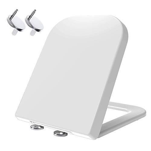 MASS DYNAMIC Square Shaped Toilet Seat, Soft Close with Quick Release Top Fix 360 Adjustable Hinges, White Duroplast Loo Seat (Heavy Duty)