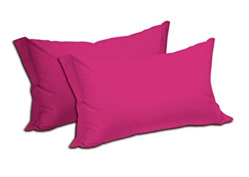 Fundas de almohada de color liso, 100 % puro algodón, paquete de 2 unidades, con cierre de sobre, suave y ligera, transpirable, medidas: 52 x 82 cm (Fucsia)