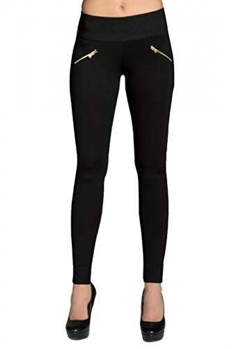 CASPAR Fashion HLE008 Damen Stretch Leggings, Farbe:schwarz, Größe:M - DE38 UK10 IT42 ES40 US8