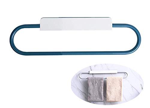 Hylulu Toallero de barra sin taladrar, autoadhesivo, anillo de toalla, soporte para toallas de cocina, soporte de acero inoxidable, para colgar en la cocina y el baño, color blanco y azul