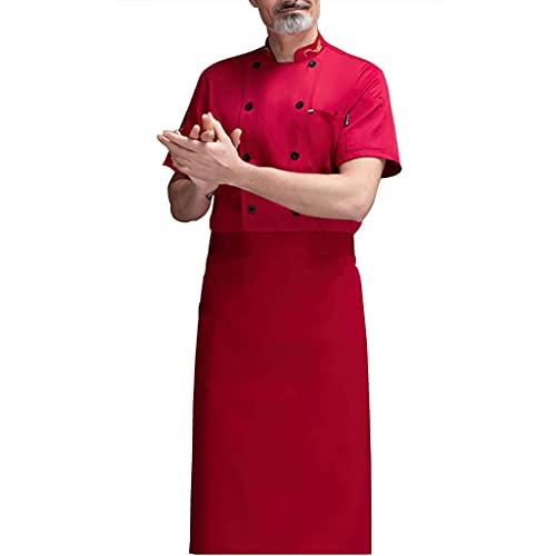 FJL Cocinero Chaqueta Abrigo Corto Manga Poco Común Hilos Unisexo Clásico Cocinar (Color : Red, Size : XL)