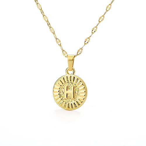 MIKUAU Collar Collar con Colgante de Letra Redonda Inicial para Mujer, Gargantilla de Oro de Acero Inoxidable, Collar con Letras Circulares, joyería de cumpleaños