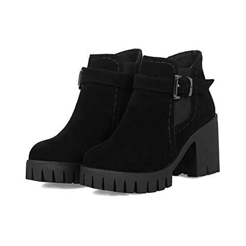 Xinantime Zapatos de Punta Redonda para Mujer Hebilla Correa Gamuza Cuadrada Tacones Medios Botas y Botines Botas Tacón Cuña Ancho para Mujer Otoño Invierno 2019