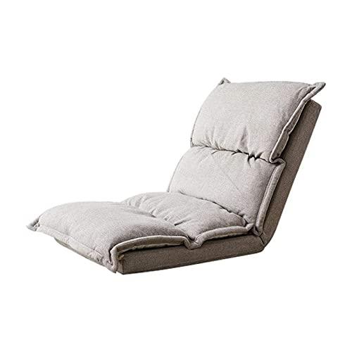 HFVDA Silla de Piso, Sillón Plegable Cojín de Asiento Lazy Lounge Sofá Silla Suelo Ajustable Soporte Soporte para el Dormitorio Silla de Tatami