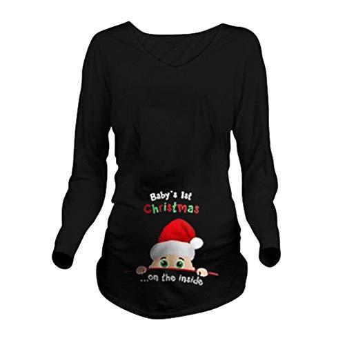 Q.KIM Camiseta Divertido Estampada de Manga Larga Premamá para Mujer Embarazo Lactancia T-Shirt-Christmas,Negro L