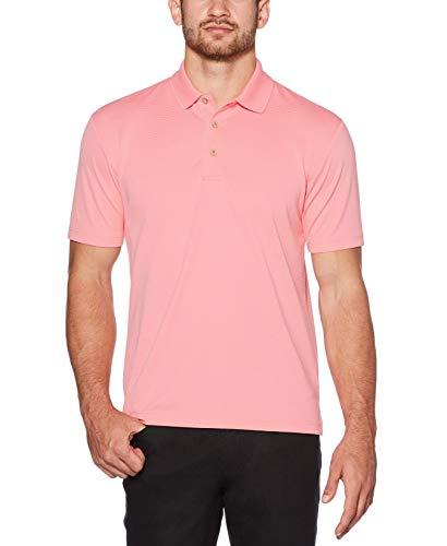 Cubavera Men's Standard Essential Textured Performance Polo, Flamingo Pink, Medium