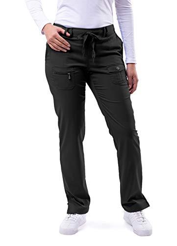 Adar Pro Scrubs for Women - Skinny Leg Yoga Scrub Pants - P4100 - Black - L