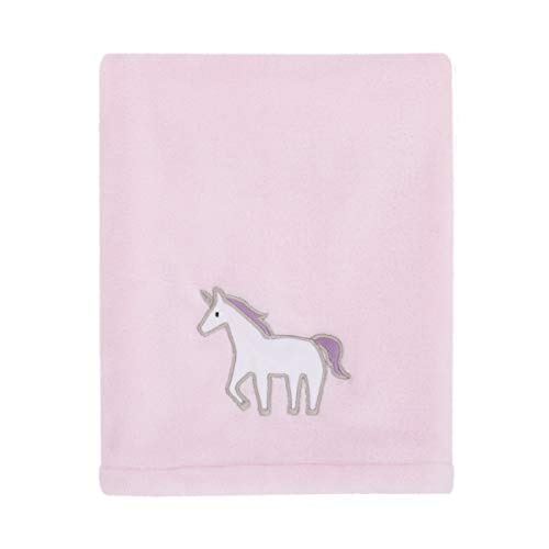 Carter's Unicorn Snuggles Pink, White, Lavender Super Soft Plush Coral Fleece Baby Blanket with Unicorn Applique, Pink, White, Lavender,