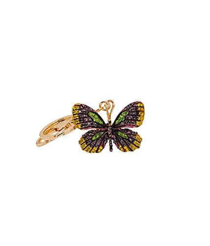 Heminea Fall Butterfly Bag Charm - Colgante para bolso (colores: amarillo, lila, verde, oro amarillo)