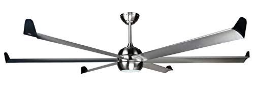 Hyperikon 92 Inch Sleek Large Ceiling Fan with LED Lights, 6 Blades, 100W, Silver Modern Ceiling Fan with Remote Controlled