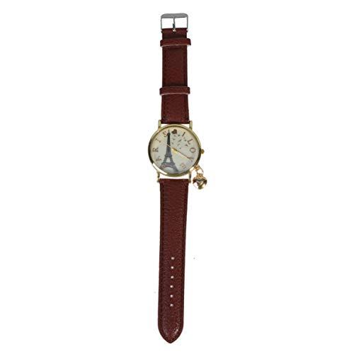 NICERIO Relógio Feminino de Couro Quartzo Feminino com Tema de Natal Relógios de Pulso para Mulheres (Casco Dourado, Marrom), Marrom, 24*3.7 cm