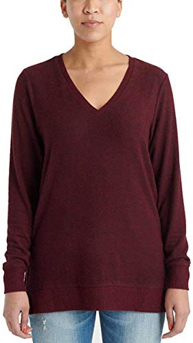 Lucky Brand Ladies' V-Neck Tunic Long Sleeves Pullover (S, Wine)