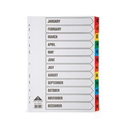 Initiative A4 File Dividers - Jan-Dec Coloured Mylar Tab 160gsm