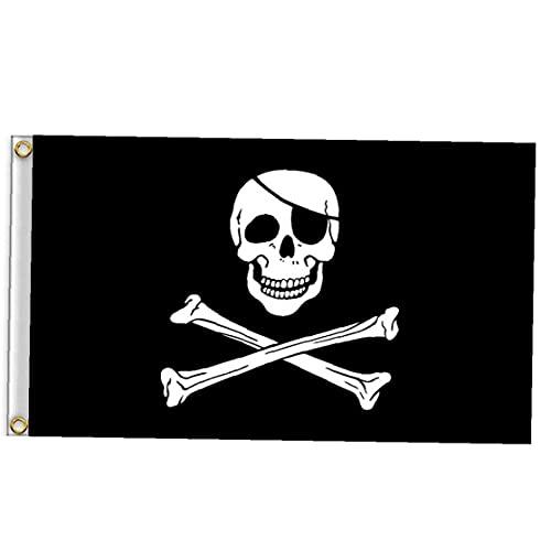 Uayasily Cráneo Bandera Pirata, Jolly Roger Bandera De Bronce Ojal Doble Puntada del Pirata Jack Capitán Espada del Cráneo De La Bandera De La Bandera Jardín Casa Breeze Adornos para La