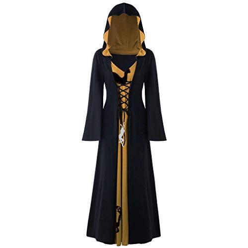 Mittelalter Kleidung Damen Kleid, Frauen Steampunk Gothic Kostüm Übergroßes Rentier Retrokleid mit Kapuze Halloween Vintage Renaissance Cosplay Maxikleid Faschingskostüm Abendkleider Dress (D,3XL)