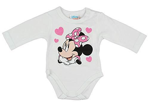 Babybogi Baby Body Disney Minnie Maus Motiv - Langarmbody mit Herzen-Aufdruck für Mädchen 56 62 68 74 Bodys Top Bekleidung, Größe: 56